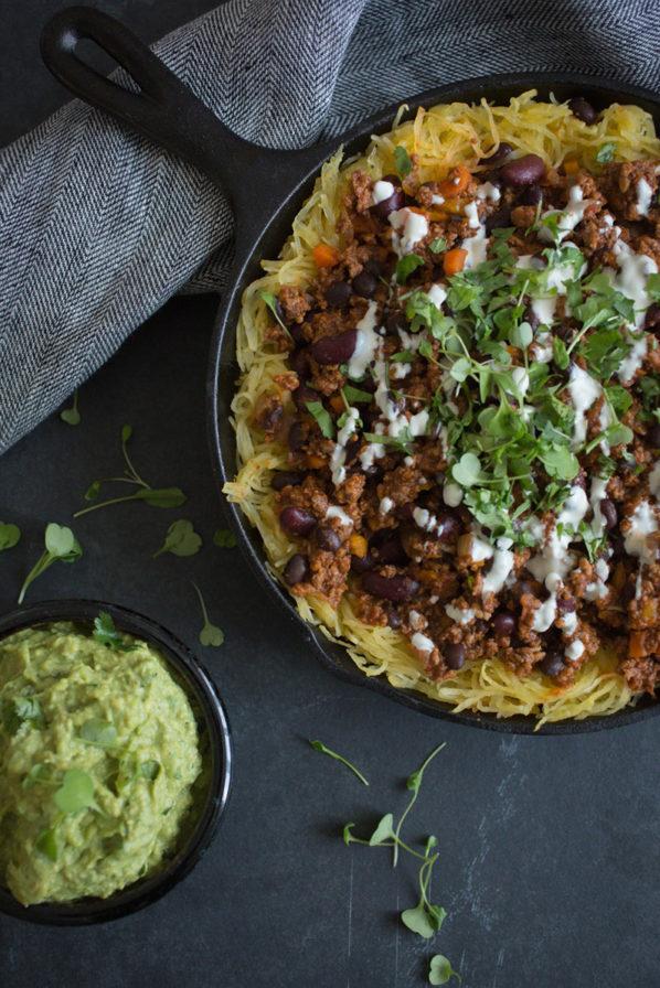 Chili con carne et courge spaghetti