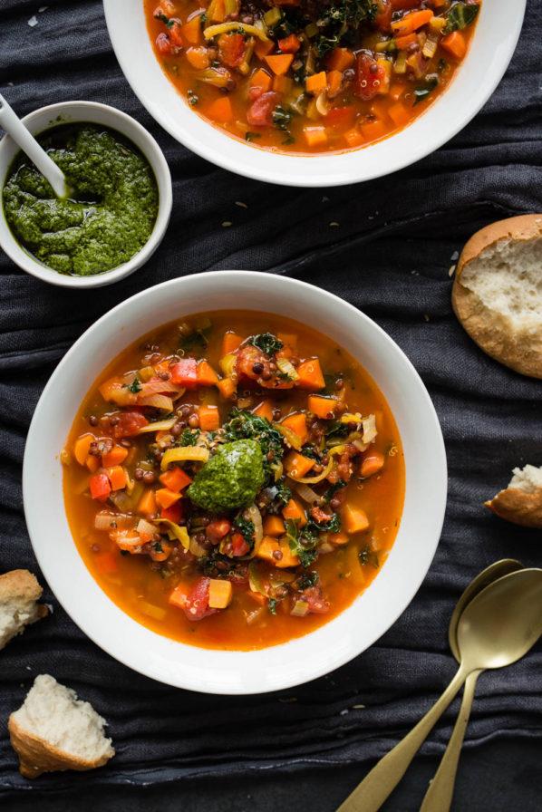 Soupe quinoa kale et lentilles