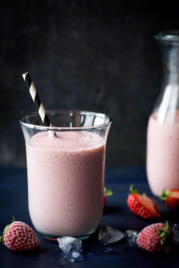 Milkshake santé aux fraises