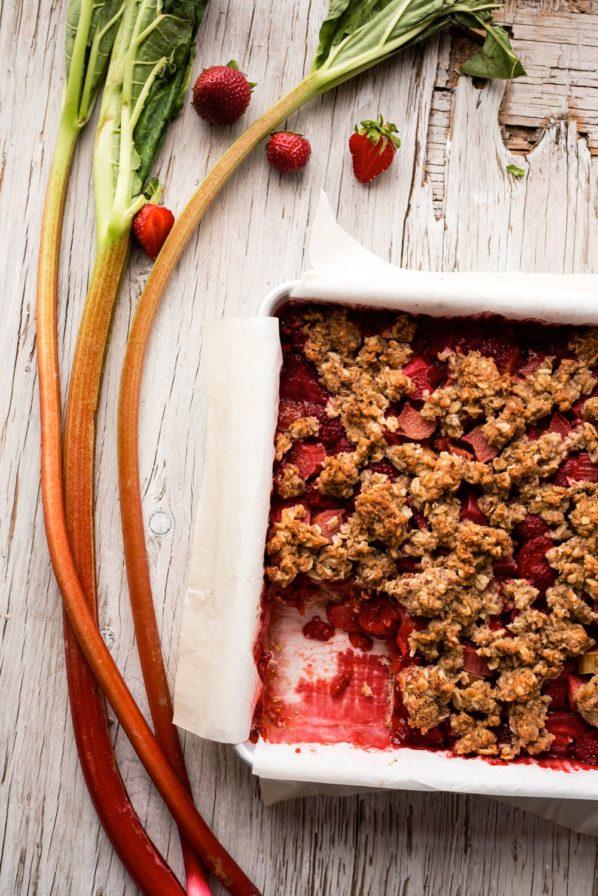 Carrés aux fraises rhubarbe et quinoa