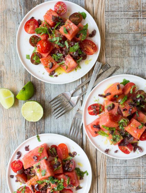 Salade de melon d'eau, tomates et menthe