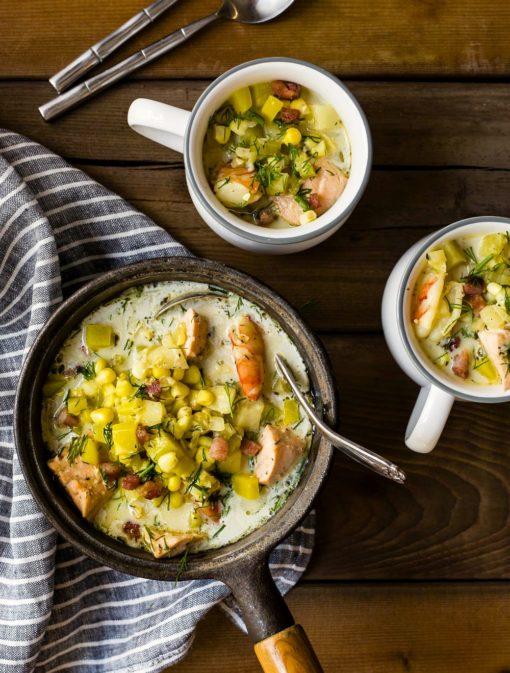 Chaudrée de saumon, crevettes et betteraves jaunes