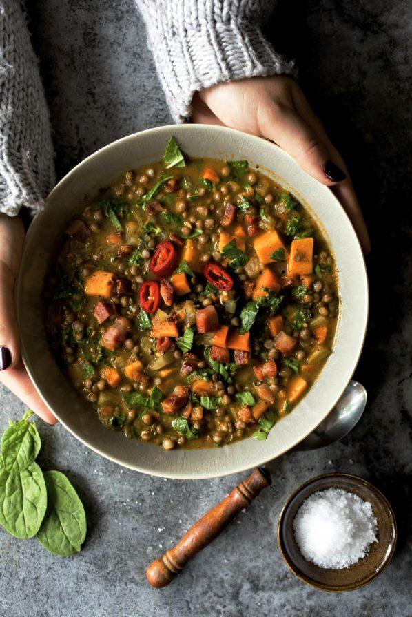 Soupe de lentilles, carottes et patates douces