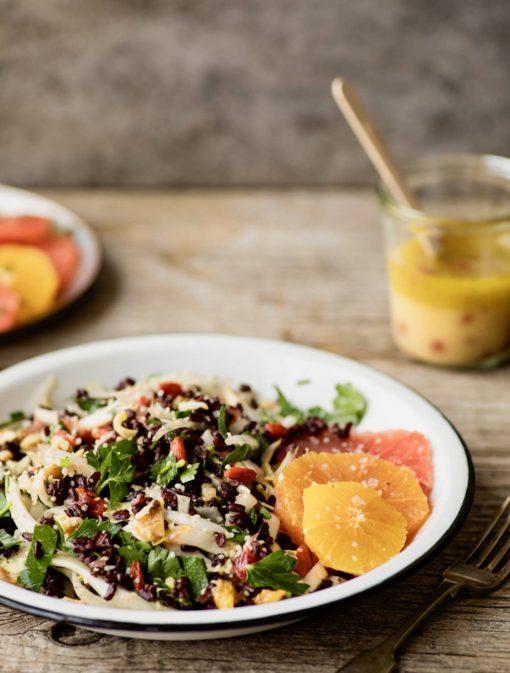Salade de riz sauvage aux agrumes