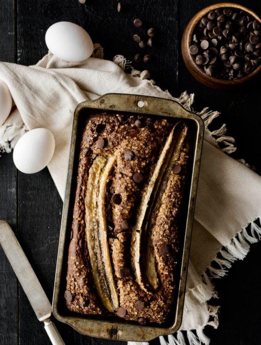 Pain bananes, sarrasin et chocolat noir