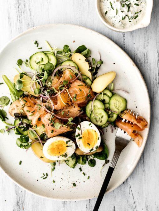 Salade de saumon gravlax et pommes de terre