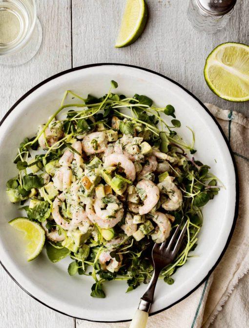 Salade de crevettes nordiques, lime et poires