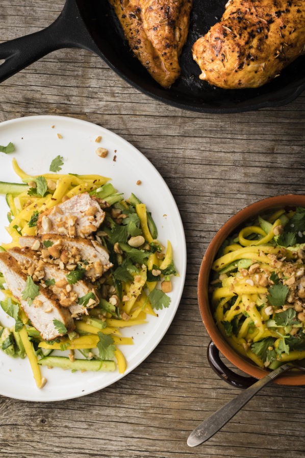 Poulet cajun et salade de mangues