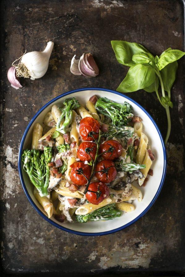 Pâtes crémeuses champignons, pancetta et brocolis