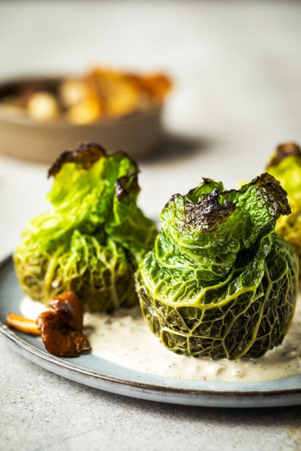 Choux farcis aux champignons végétariens