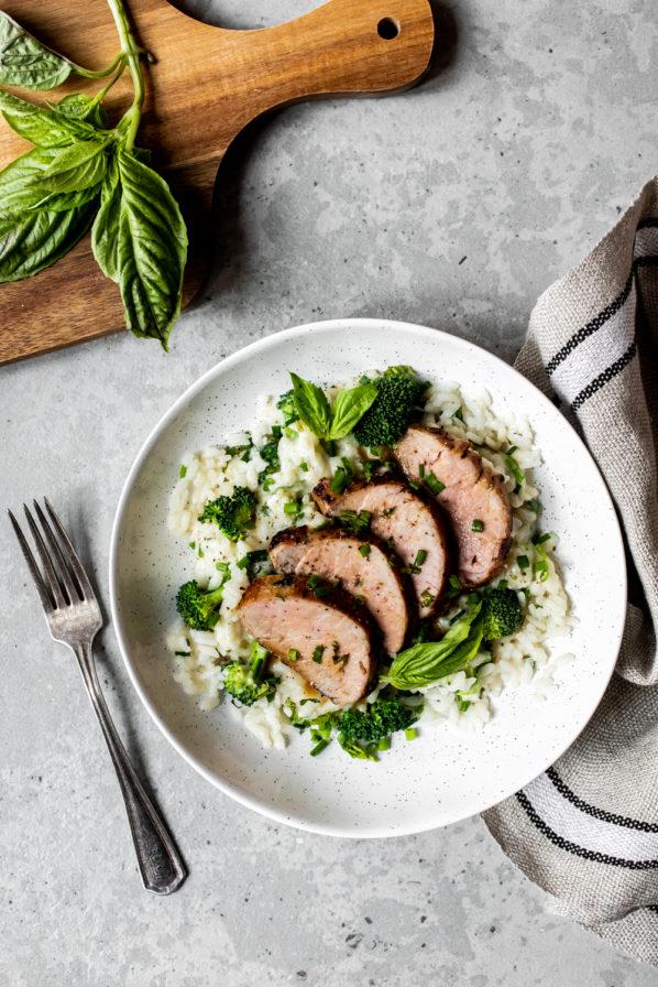 Filet de porc à l'érable et risotto à la ciboulette