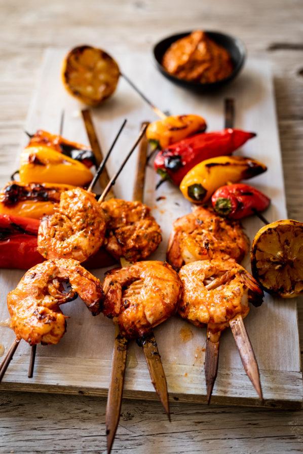 Crevettes et poivrons grillés au pesto rouge