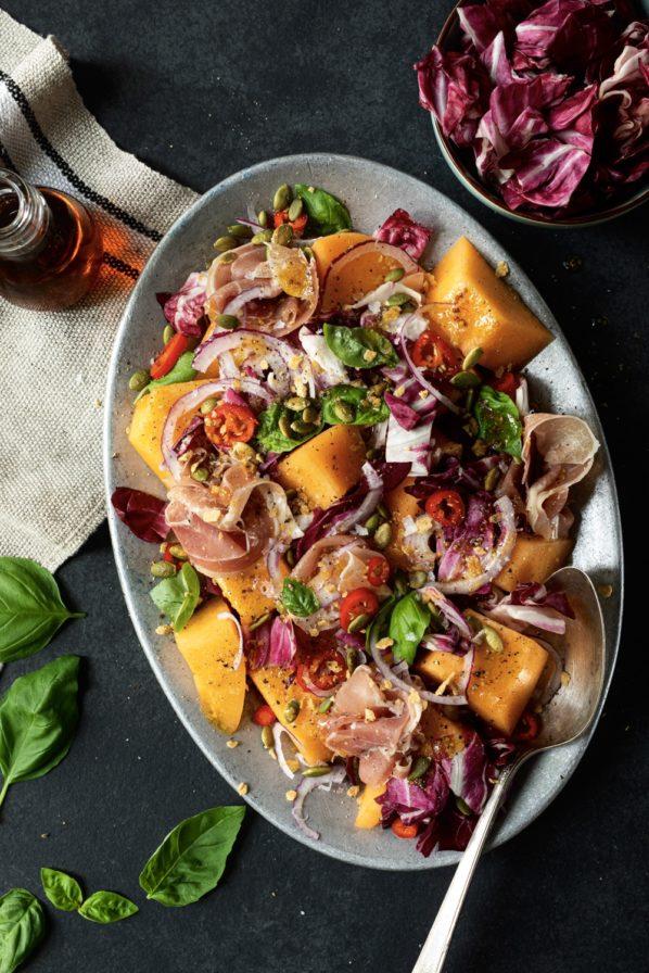 Salade de cantaloup, prosciutto, basilic et érable