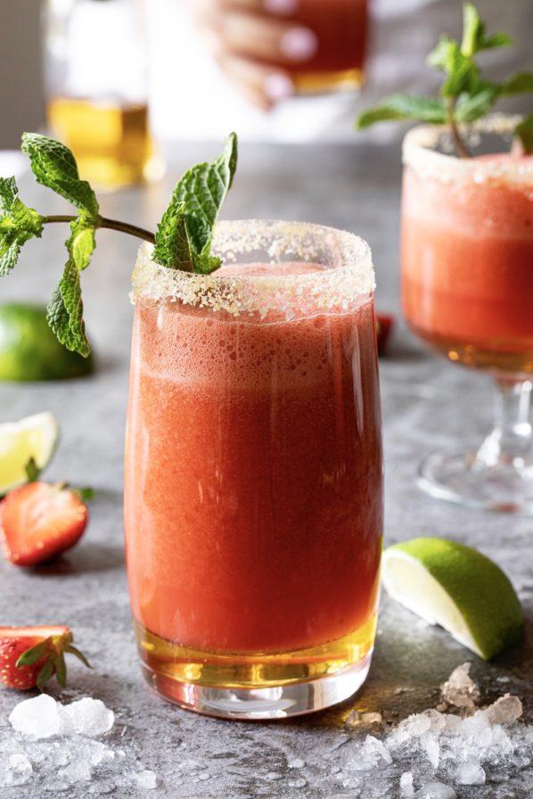 Mocktail fraises, érable et gingembre