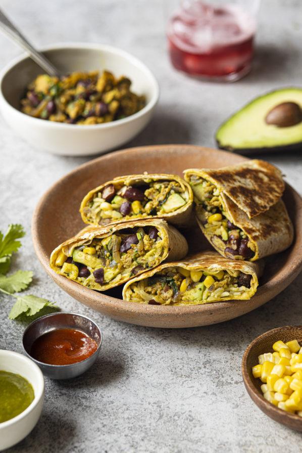 Burritos poulet, érable et sauce mangue-basilic
