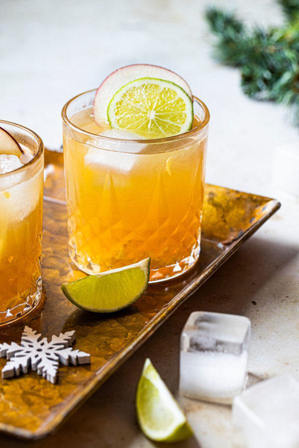 Cocktail pomme, lime et gingembre