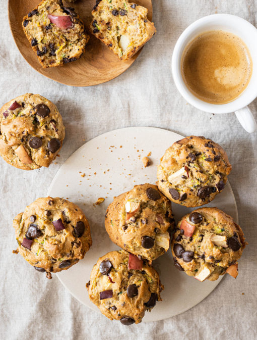 Muffins courgettes, pommes et chocolat
